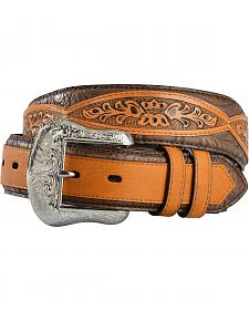 Gibson Trading Co. Men's Tooled Croc-Print Leather Belt