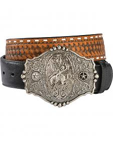 Gibson Trading Co. Men's Embossed Basketweave Trophy Buckle Belt