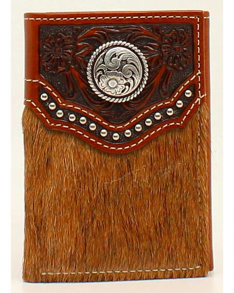 Ariat Calf Hair Embossed Studded Concho Tri-Fold Wallet