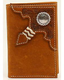 Ariat Embossed Tab Rawhide Knot Concho Tri-Fold Wallet