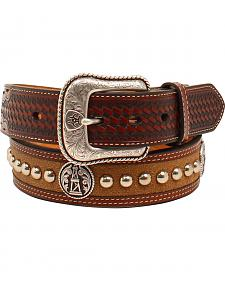 Ariat Men's Nailhead Oil Rig Concho Belt