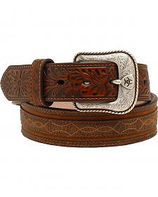 "Ariat 1 1/2"" Embossed Tabs Barbwire Stitch Belt"