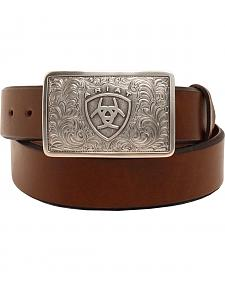 Ariat Square Logo Buckle Leather Belt