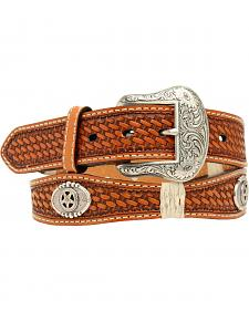 Nocona Men's Scalloped Embossed Concho Belt
