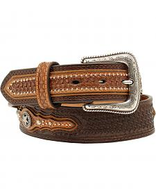 Nocona Men's Basketweave Star Concho Belt
