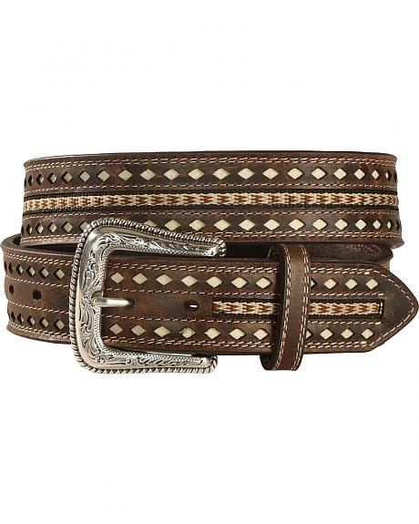 Nocona Men's Nailhead Ribbon Inlay Belt