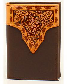 Nocona Stitched Leather Floral Embossed Tri-Fold Wallet