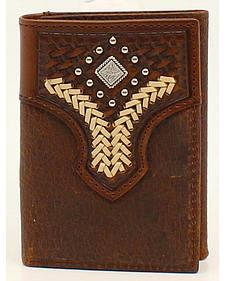 Nocona Lacing Diamond Concho Tri-Fold Wallet