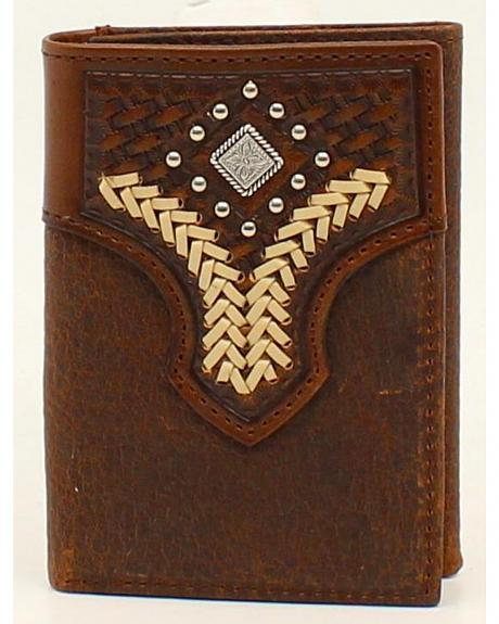 Nocona Lacing Diamond Concho Tri-Fold Wallet