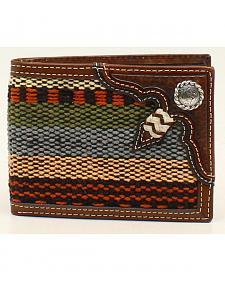 Nocona Fabric and Rawhide Knot Bi-Fold Wallet