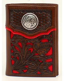 Nocona Floral Overlay Tri-fold Concho Wallet