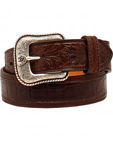 Ariat Tooled Belt w/Floral Ariat Buckle