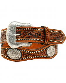 Nocona Scalloped Tooled Concho Belt