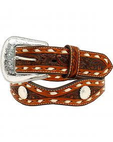 Nocona Floral Tooled Scalloped Round Concho Belt