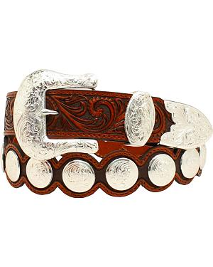 Nocona Floral Tooled Round Concho Scalloped Belt