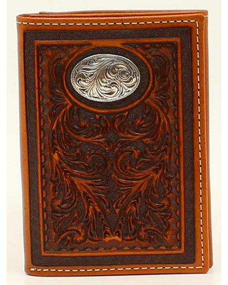 Nocona Floral Tooled Oval Concho Tri-Fold Wallet
