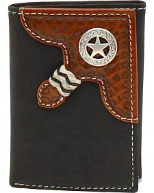 Nocona Star Concho Basketweave Braid Trifold Wallet