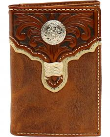 Nocona Floral Embossed Round Concho Braid Tri-Fold Wallet