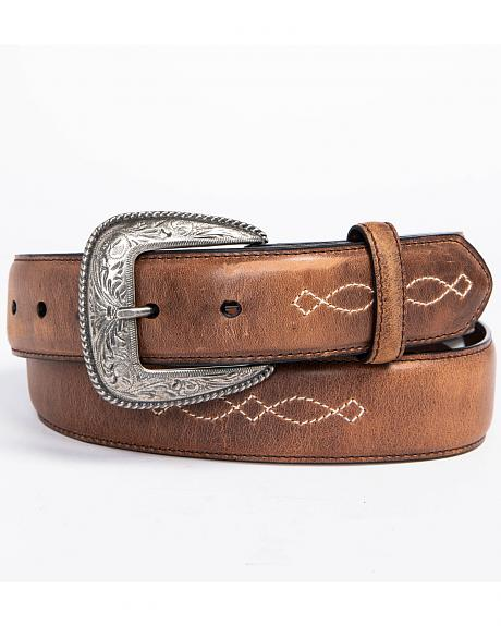 AndWest Men's Fancy Inlay Leather Belt