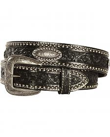 AndWest Men's Tooled Concho Black Leather Belt
