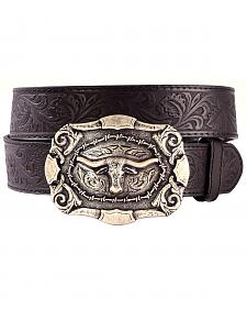 AndWest Men's Western Tooled Longhorn Belt