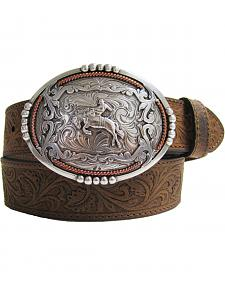 AndWest Men's Western Tooled Bucn' Bronc Rider Belt