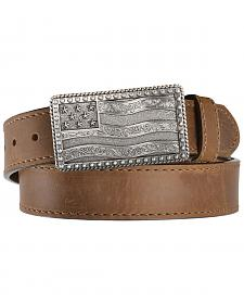 Justin Men's Flying High Flag Buckle Leather Belt