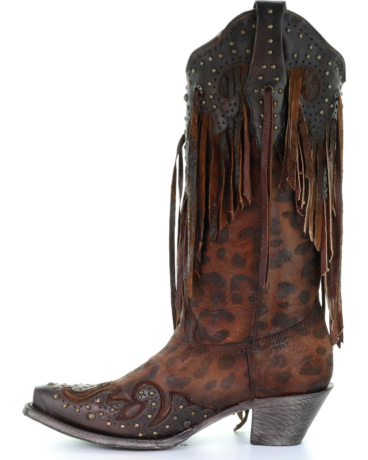 A3618 Corral Women/'s Leopard Stud and Fringe Cowgirl Boot Snip Toe