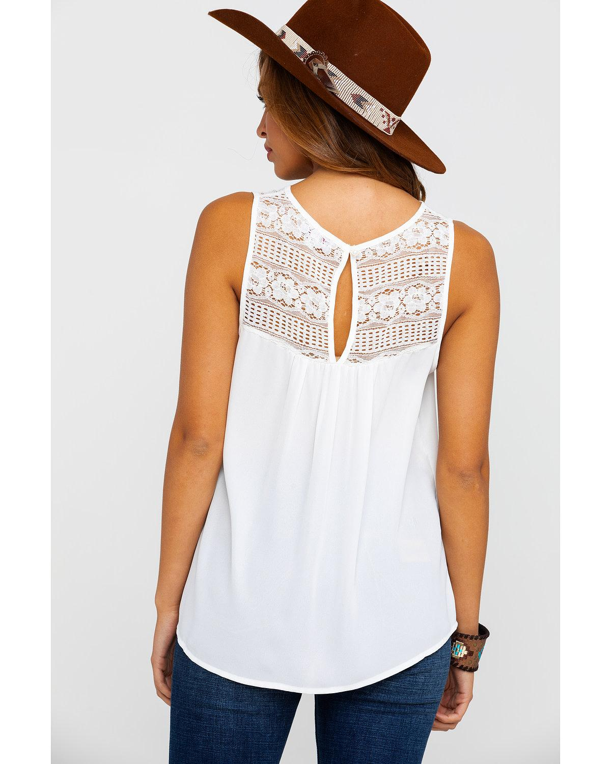 Red Label by Panhandle Women/'s Babydoll Lace Criss Cross Tank Top J7-1304-WHT