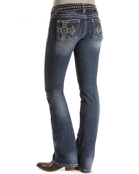 Miss Me Jeans - Rhinestone Cross Embroidered Slim Fit - 33 1/2