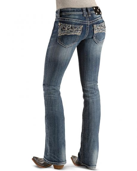 Miss Me Jeans - Embellished Lace Embroidery Pocket Jeans - 33 1/2