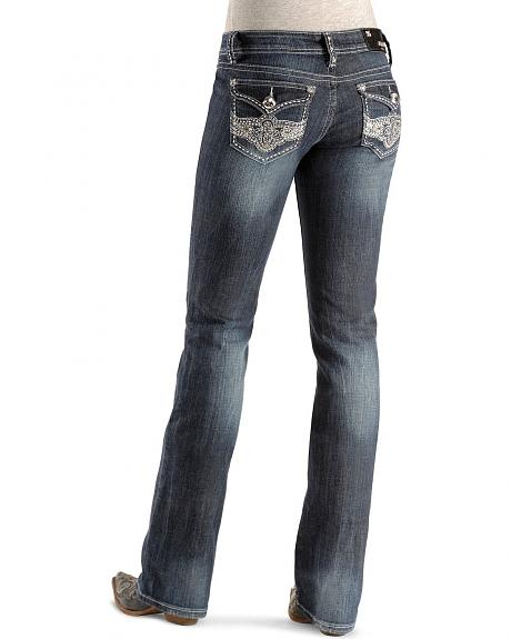 Grace In LA Embellished Floral Flap Pocket Jean - 33