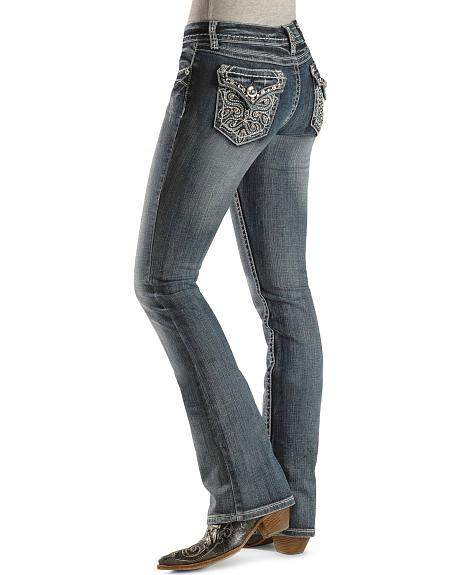 Grace In LA Rhinestone Scroll Flap Pocket Jeans - 33