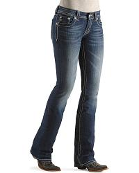 Miss Me Jeans - Embellished Flower Slim Fit Boot Cut - 33 1/2