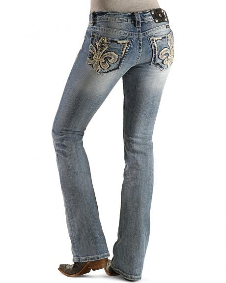 Miss Me Embellished Rhinestone Fleur-De-Lis Slim Fit Boot Cut Jeans - 33 1/2