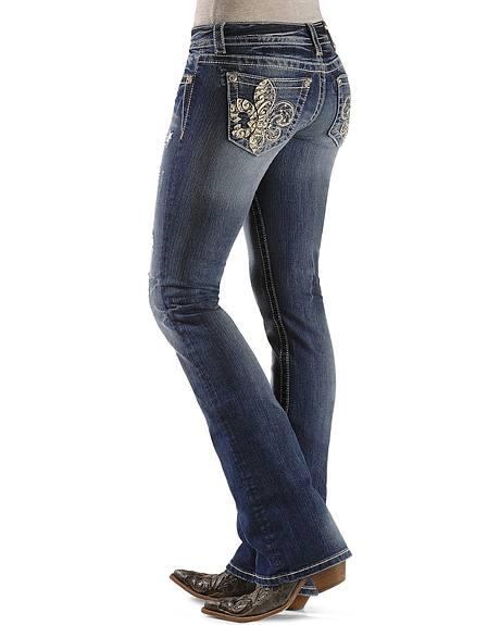 Miss Me Embellished Fleur-de-Lis Boot Cut Jeans - 33 1/2