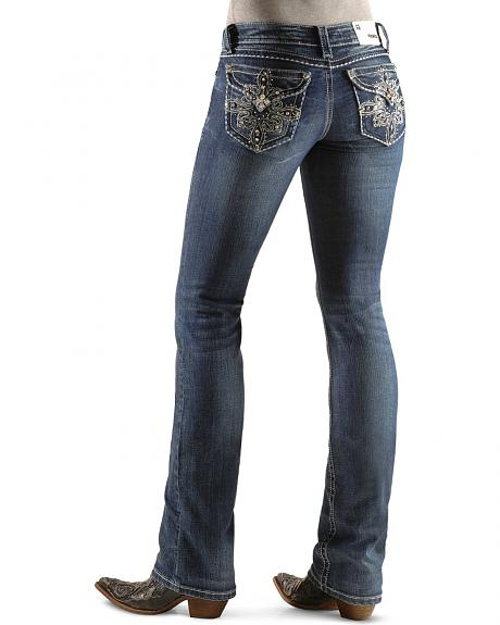 Grace in LA Rhinestone Concho Pocket Jeans - 33