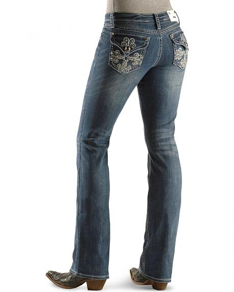 Grace in LA Fancy Scroll Cross Pocket Jeans - 33