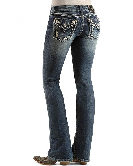 Miss Me Rhinestone & Floral Applique Flap Pocket Boot Cut Jeans - 33 1/2