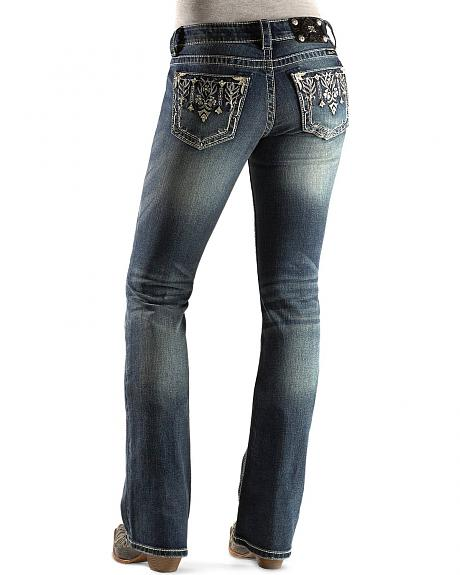 Miss Me Jean - Bedecked Floral Embroidery Boot Cut Jeans - 33 1/2