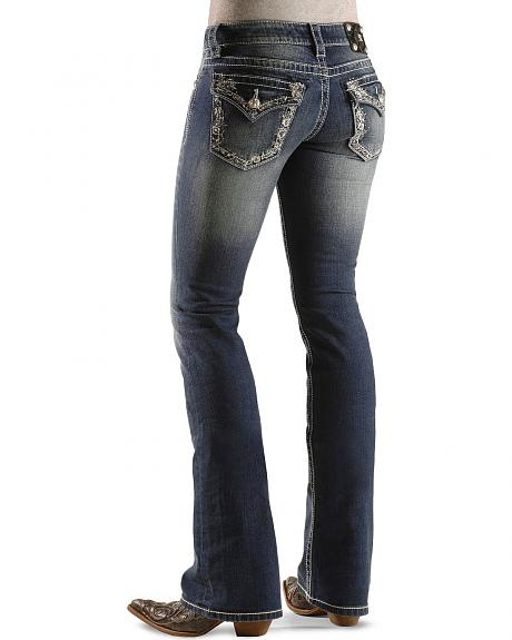Miss Me Floral Edge Embroidered Flap Pocket Boot Cut Jeans - 33 1/2