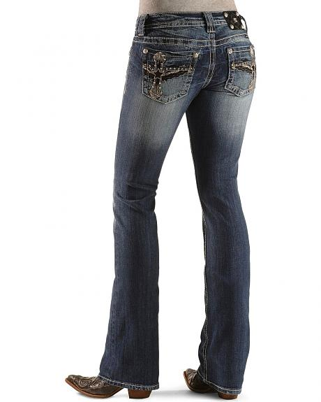 Miss Me Embellished Winged Cross Slim Fit Boot Cut Jeans - 33 1/2