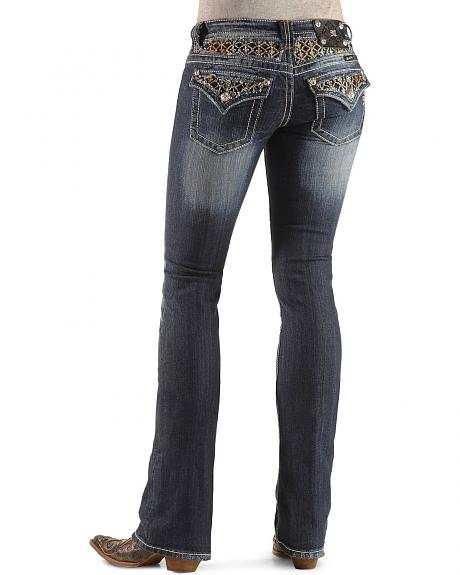 Miss Me Embellished Fleur-de-lis Yoke & Pocket Slim Fit Boot Cut Jeans - 33 1/2