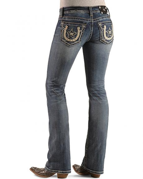 Miss Me Embellished Horseshoe & Star Applique Slim Fit Boot Cut Jeans - 33 1/2