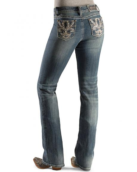 Grace in L.A. Rhinestone Embellished Embroidery Pocket Jeans - 33