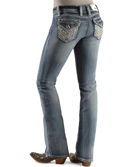Grace in L.A. Swirl Stitched Flap Pocket Jeans - 33