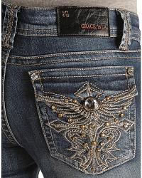 Grace In L.A. Studs & Rhinestones Pocket Jeans at Sheplers