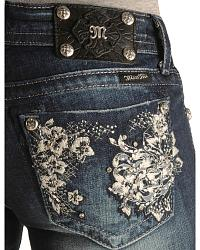 Miss Me Floral Embroidery Pocket Straight Leg Jean at Sheplers