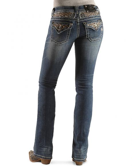 Miss Me Embroidered Yoke & Flap Pocket Boot Cut Jeans - 33 1/2