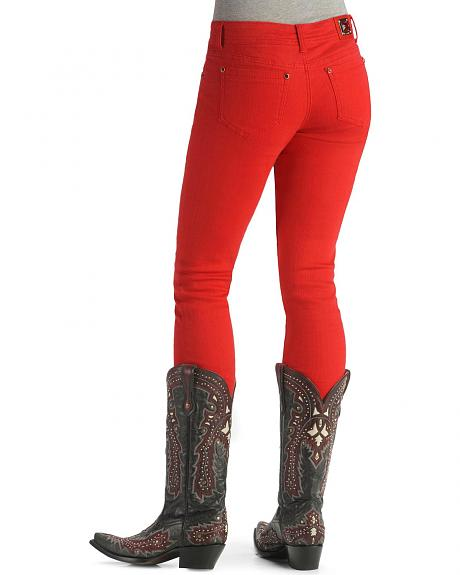 Grace In LA Bold Red Skinny Leg Jeans